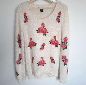 Forever 21 rose flower fuzzy pullover sweater